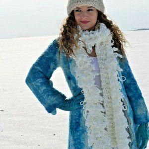 wool jacket long pea coat white ivory navy 2 4 XS